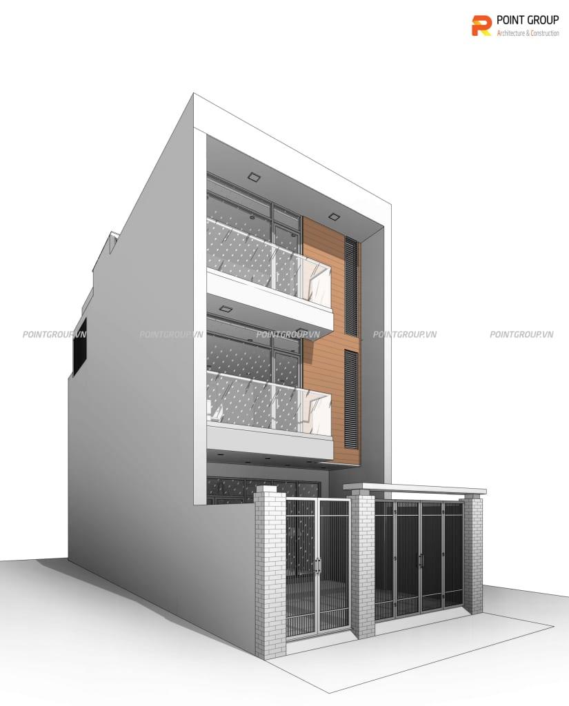nhà phố 3 tầng mái bằng