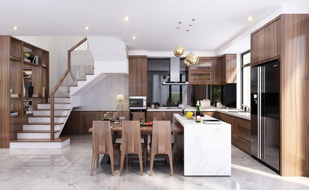 Thiết kế nội thất phòng bếp biệt thự nhà Mr Thuy