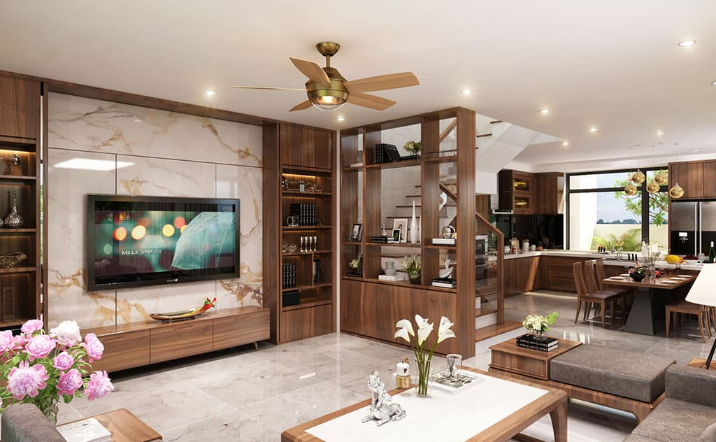 Thiết kế nội thất phòng khách biệt thự nhà Mr Thuy