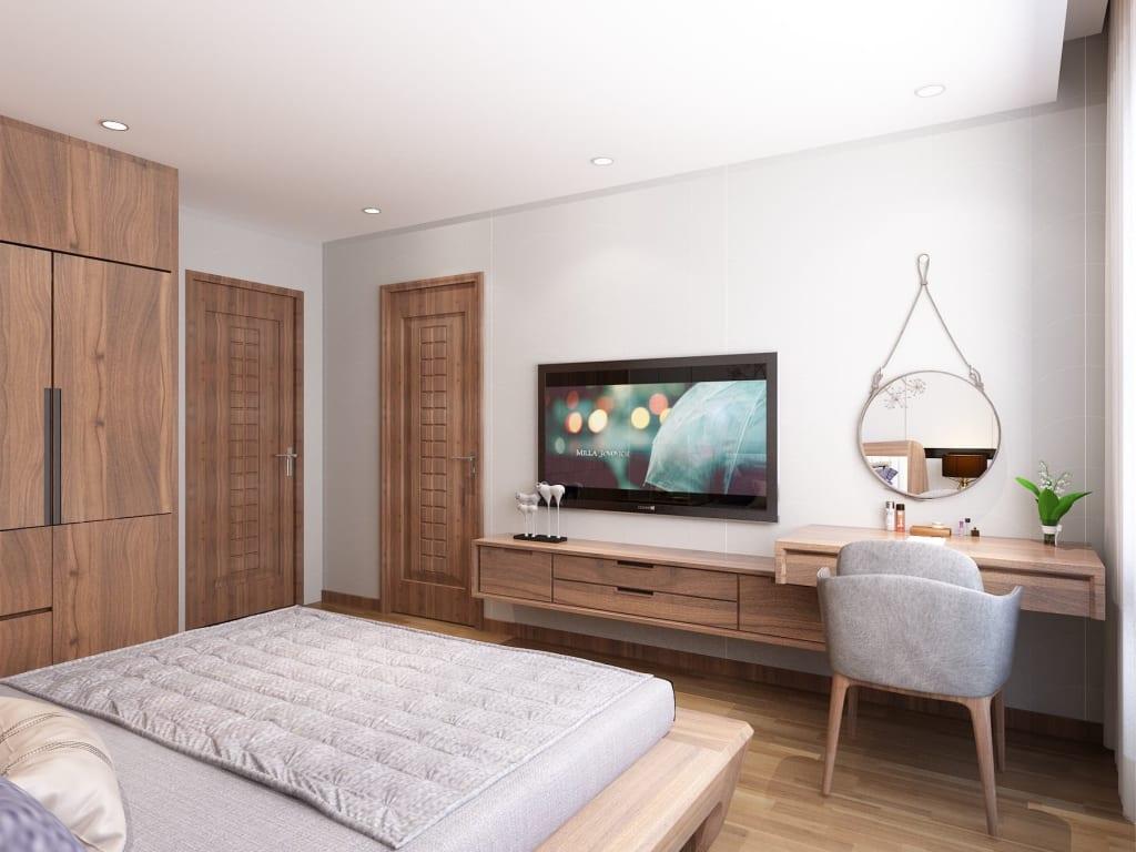 Nội thất phòng ngủ được thiết kế theo phong cách hiện đại