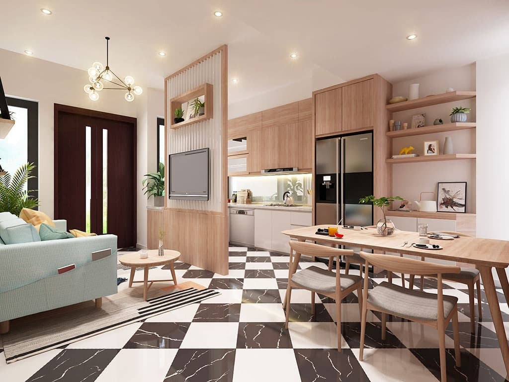 Nội thất phòng khách liền bếp nhà Mr Lam