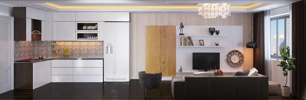 Thiết kế nội thất căn hộ chung cư nhà Mr Long