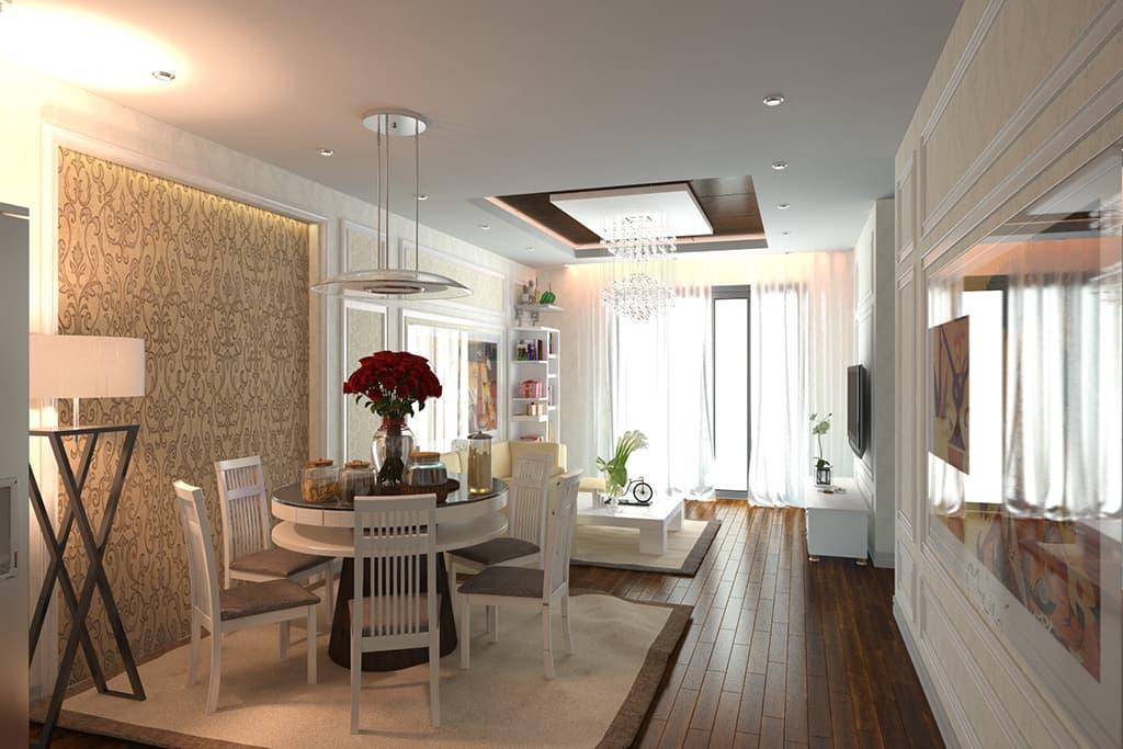 Thiết kế nội thất phòng khách căn hộ chung cư nhà Mr Thanh