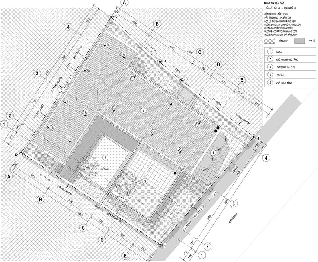 Mặt bằng tổng thể - Thiết kế kiến trúc và nội thất biệt thự nhà Ms May