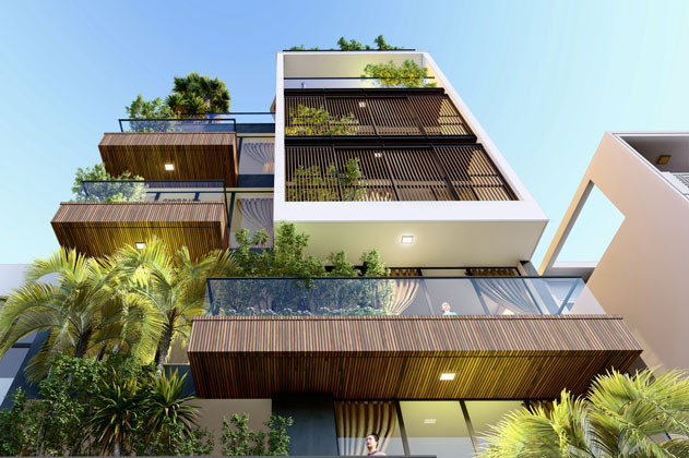 Mẫu thiết kế nhà ở kết hợp văng phòng 7 tầng - An Trạch